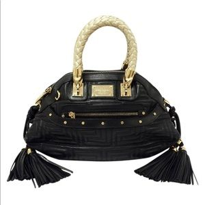 Giani Versace Couture Greca Black Leather Bag
